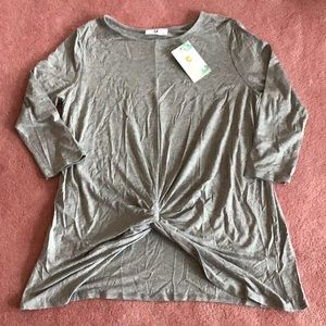 Amelia James gray knotted Tampa t top shirt
